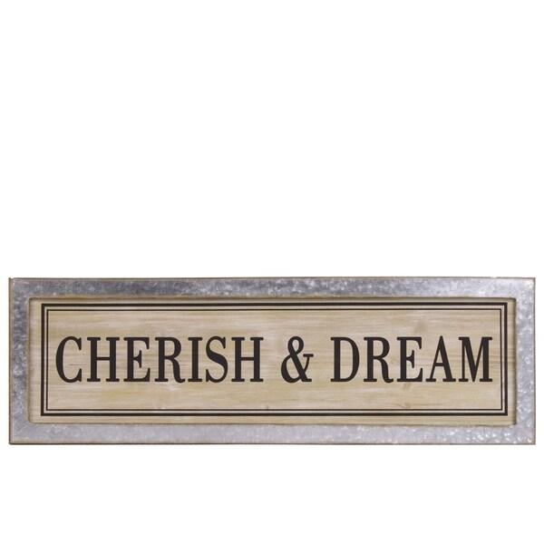 "UTC53905: Wood Rectangular Alphabet Wall Decor ""CHERISH & DREAM"" with Metal Rust Effect Edge Frame Natural Finish Brown"