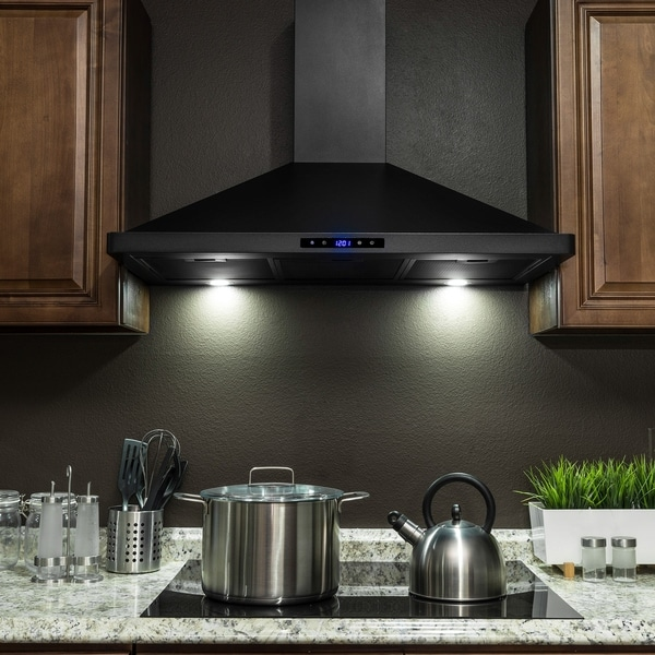 Akdy Rh0326 36 Black Stainless Steel Wall Mount Range Hood Touch Panel Mesh Filters Kitchen