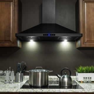 "AKDY RH0326 36"" Black Finish Stainless Steel Wall Mount Range Hood Touch Panel"