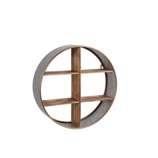 UTC54001: Metal Round Wall Shelf with Wood Divider, 6 Slots and Painted Gold Edges Galvanized Finish Gray