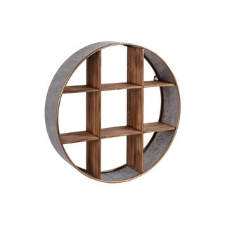 UTC54002: Metal Round Wall Shelf with Wood Divider, 9 Slots and Painted Gold Edges Galvanized Finish Gray