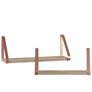 UTC37096: Wood Rectangular Wall Shelf with Angled Brackets Set of Two Metallic Finish Rose Gold