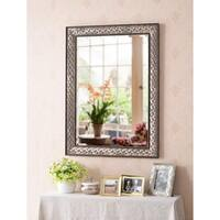 "Design Craft Trinity 38"" Wall Mirror - Brown with Antique Gold"