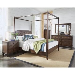 Coronado Complete Brown Wood Rattan King Canopy Bed