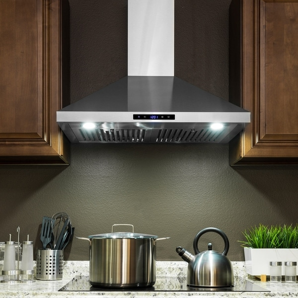 """AKDY RH0355 30"""" Stainless Steel Wall Mount Range Hood Touch Panel Baffle Filters Kitchen Vent"""