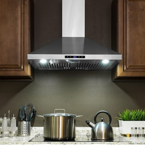 "AKDY RH0355 30"" Stainless Steel Wall Mount Range Hood Touch Panel Baffle Filters Kitchen Vent"