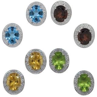 Birthstone Gemstone 8 x 10 mm in 14k White Gold Diamonds Around Stud Earrings