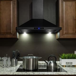 Akdy 30 Stainless Steel Black Finish Wall Mount Kitchen Range Hood