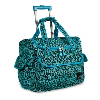 J World New York DONNA Travel Rolling Tote Mint Leopard