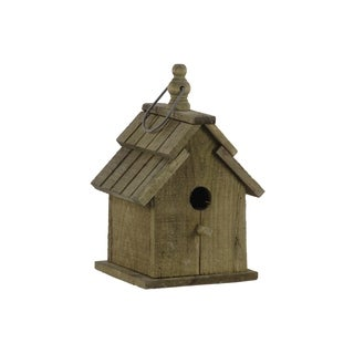 UTC35133: Wood Bird House with Double Gable Roof Design and Metal Handle Natural Finish Brown