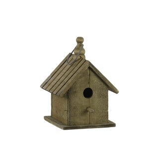 UTC35134: Wood Bird House with Gable Roof Design and Metal Handle Natural Finish Brown