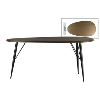 UTC38817: Metal Oval Table with Curved Edges and 3 Legs Metallic Finish Champagne