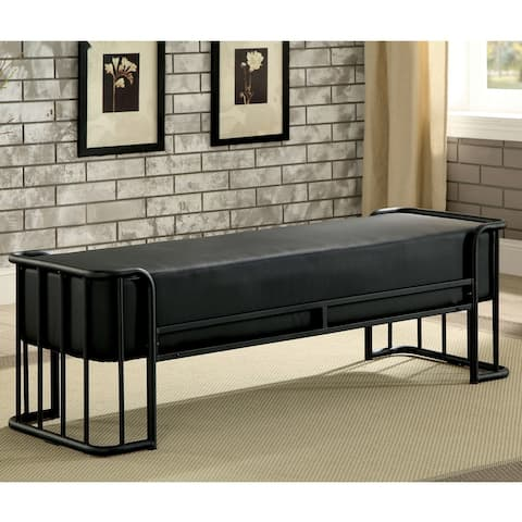 Furniture of America Ryan Industrial Black 52-inch Metal Padded Bench