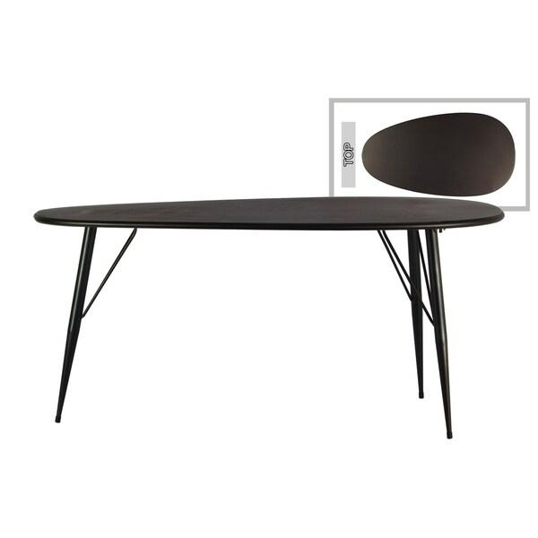 UTC38818: Metal Oval Table with Curved Edges and 3 Legs Metallic Finish Gunmetal Gray