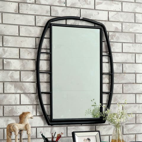 Furniture of America Ryan Industrial Black Metal Framed Mirror