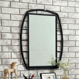 Furniture of America Ryan Industrial Black Metal Framed Mirror - A