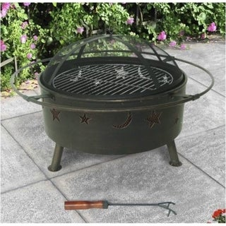 """32"""" Round Steel Fire Pit-Lattice"""