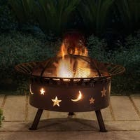 """32"""" Round Steel Fire Pit-Moon and star"""