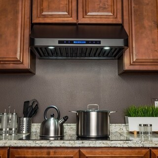 "AKDY RH0347 30"" Under Cabinet Black Stainless Steel Touch Panel Kitchen Range Hood Cooking Fan"