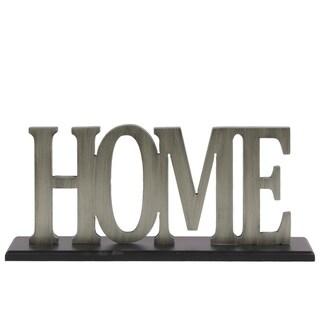 """UTC53910: Wood Alphabet Decor """"Home"""" on Black Rectangular Base Painted Finish Silver"""