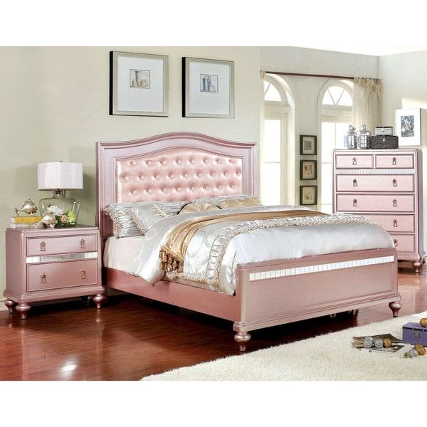 Shop Furniture of America Ayeda I Transitional Rose Gold Button ...