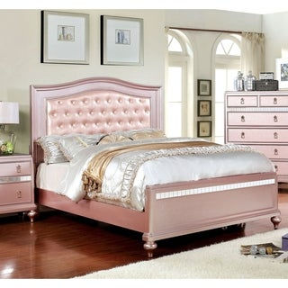 Furniture of America Ayeda I Transitional Rose Gold Button Tufted Bed