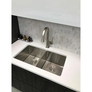 "STYLISH 28"" Undermount Double Bowl 18G Stainless Steel Kitchen Sink S-300 - Topaz"