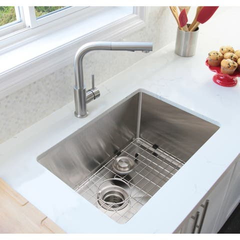 "30""L x 18""W Single Basin Undermount Kitchen Sink with Grid and Strainer - Silver - 30'' x 18'' x 10''"