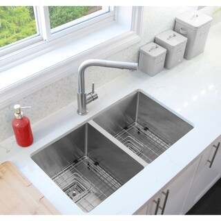 """30"""" Premium Handcrafted Undermount 16G Stainless Steel Sink, with Grids, S-504XG - Morion"""