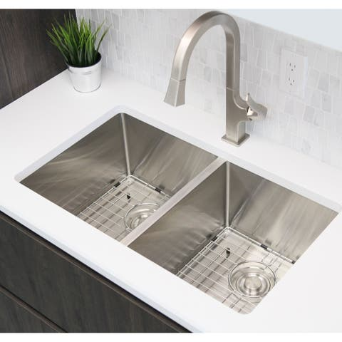 "30""L x 18""W Double Basin Undermount Kitchen Sink with Grids and Strainers - Silver - 30'' x 18'' x 10''"