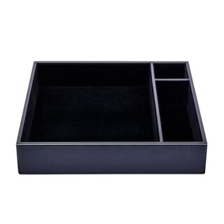 Black Leatherette Conference Room Organizer Tray