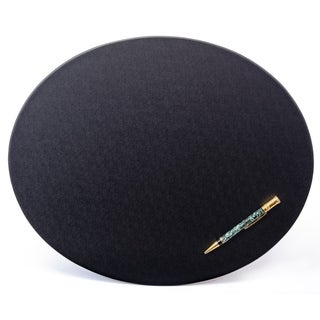 """Black Leatherette 17"""" x 14"""" Oval Conference Pad"""