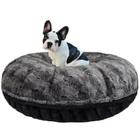 Bessie and Barnie Signature Arctic Seal/ Black Puma Luxury Extra Plush Faux Fur Bagel Pet / Dog Bed