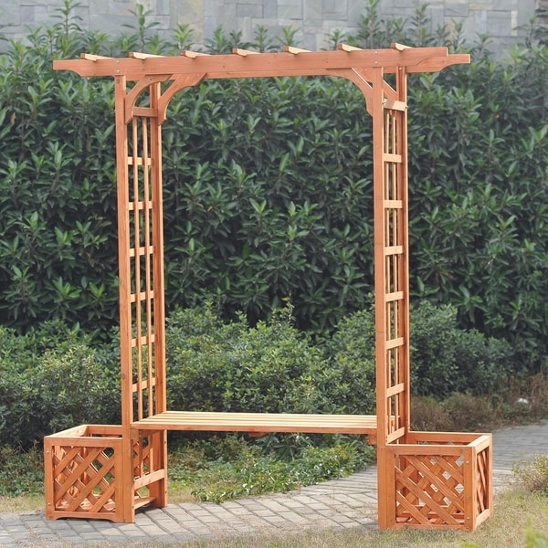 Wooden Trellis Arch Arbor Outdoor Pergola With Seat