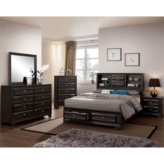 Furniture of America Bosch II Contemporary Antique Grey Full-size Storage Bed with Bookcase