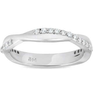 Bliss 14k White Gold 1/4 ct TDW Diamond Vine Intertwined Wedding Ring Womens Stackable Band
