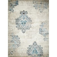 Persian Rugs Blue/Cream Floral Oriental Area Rug - 7'10 x 10'6