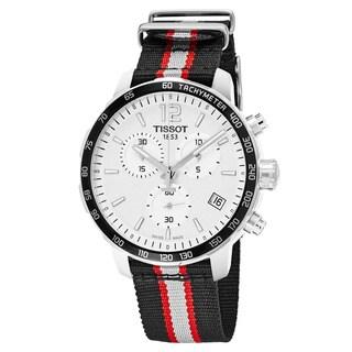 Tissot Men's T095.417.17.037.16 'Quickster' Silver Dial Striped Fabric Strap Chronograph NBA Toronto Raptors Swiss Quartz Watch