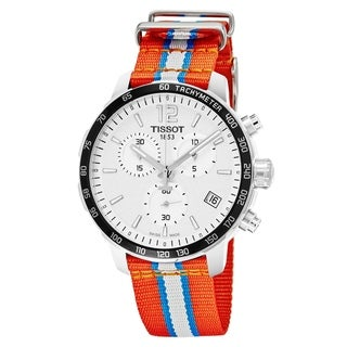 Tissot Men's T095.417.17.037.14 'Quickster' Silver Dial Orange Fabric Strap Chronograph Oklahoma City Thunder Swiss Quartz Watch