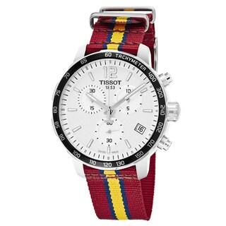 Tissot Men's T095.417.17.037.13 'Quickster' Silver Dial Maroon Fabric Strap Chronograph Cleveland Cavaliers Swiss Quartz Watch