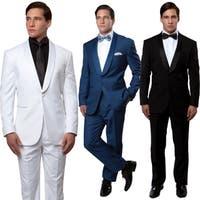 Mens Tuxedo 2 Pieces Satin Shawl Collar  Slim Fit Tuxedo Suit