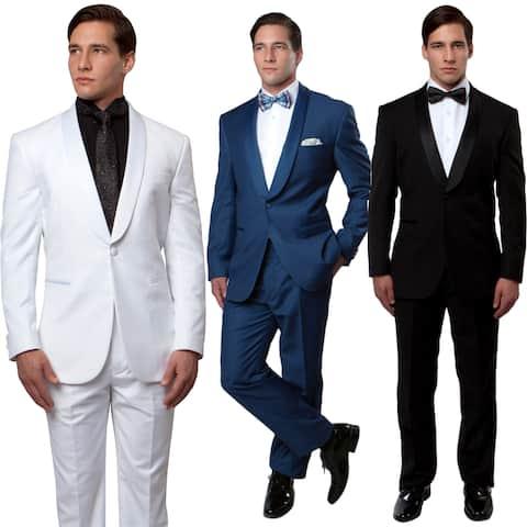 Mens 2 Pieces Tuxedo Satin Shawl Collar Slim Fit Tuxedo Suit