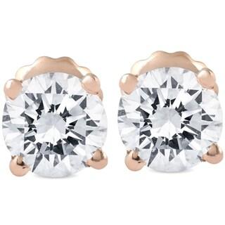 Bliss 14k Rose Gold 3/4 ct TDW Diamond Screw Back Studs - White