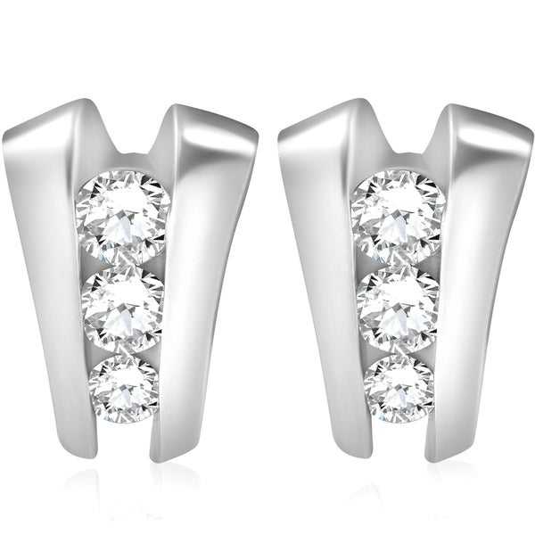 Shop Bliss 14k White Gold 1 3 8 ct TDW Three Stone Diamond Studs Womens  Earrings - On Sale - Free Shipping Today - Overstock - 19977183 f051530287