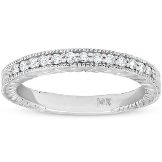 Bliss 14k White Gold 1/5 ct TDW Diamond Vintage Antique Wedding Ring Womens Stackable Band