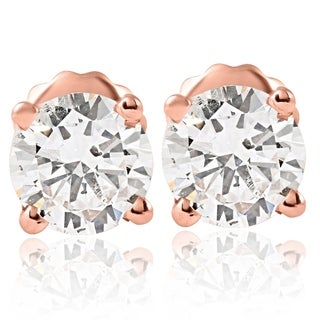 Bliss 14k Rose Gold 1 ct TDW Diamond Studs - White