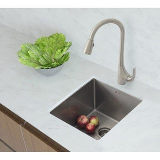 """16"""" Single Bowl 18G Stainless Steel Kitchen Sink S-309 - Pearl"""