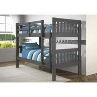 Twin over Twin Mission Bunk Bed in Dark Grey Finish
