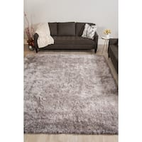 Plush Shag Cozy Light Grey Area Rug - 7' 6 x 9' 6