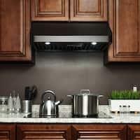 "AKDY RH0349 30"" Under Cabinet Black Painted Stainless Steel Range Hood"